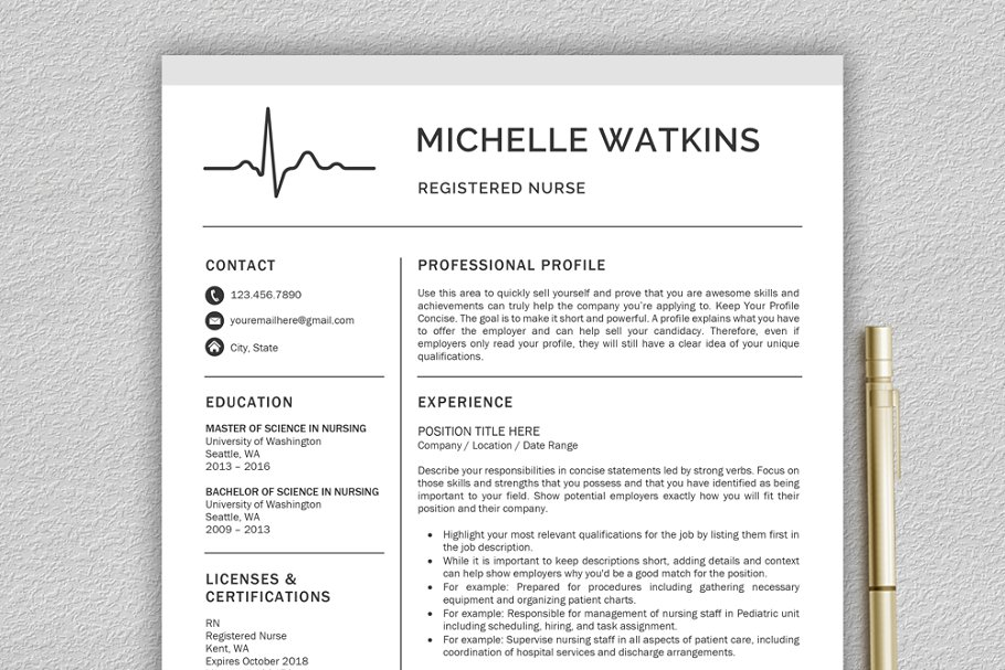 Nurse Resume / Medical CV ~ Resume Templates ~ Creative Market