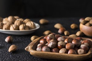 Walnuts almonds and hazelnuts.