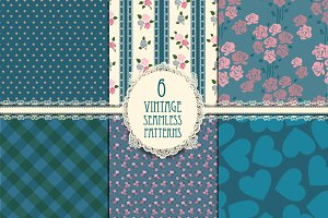 Six vintage seamless patterns