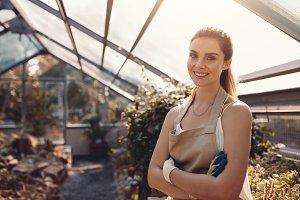 Confident female gardener