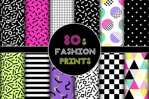 Cute set of 80's style geometric trendy seamless patterns