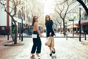 Beautiful women enjoying shopping