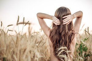 A girl in the field adjusts her hair, a naked torso, a brunette woman with long hair. Wheat field, the idea of caring for the head. Well-groomed hair hand of nature.