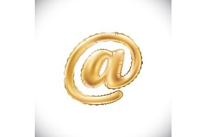 Balloon mail symbol. gold vector