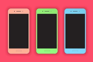 Modern colorful smart phones mock-up