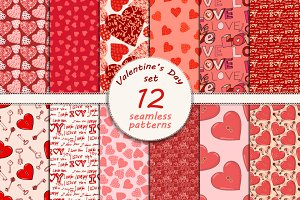 12 seamless Valentine's day patterns