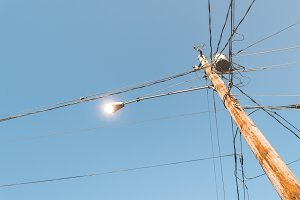 Wooden electricity pole.