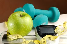 Healthy apple and sport