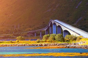 Norwegian bridge on the Lofoten