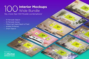 100 Interior Mockups - Wide Bundle