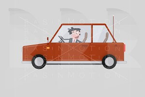 Businessman driving red car