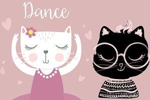Cute cat-ballerina cat-black cat