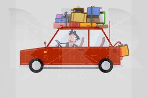 Man driving red car with luggage