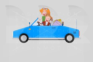 Couple driving convertible blue car