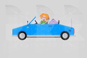 Girl driving convertible blue car