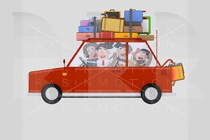Family driving red car with luggage