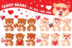 Teddy Bears Vector Characters