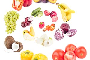 Spiral from colored fruits and vegetables, isolated