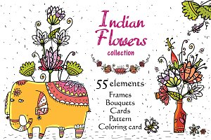 Indian Flowers - 55 objects+