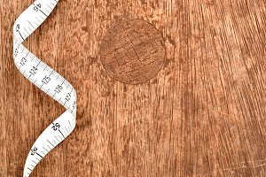 Tape measure on wood