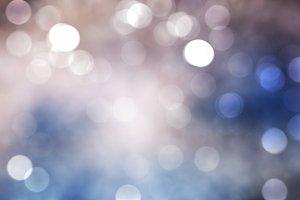 Winter Festive blue blurry bokeh