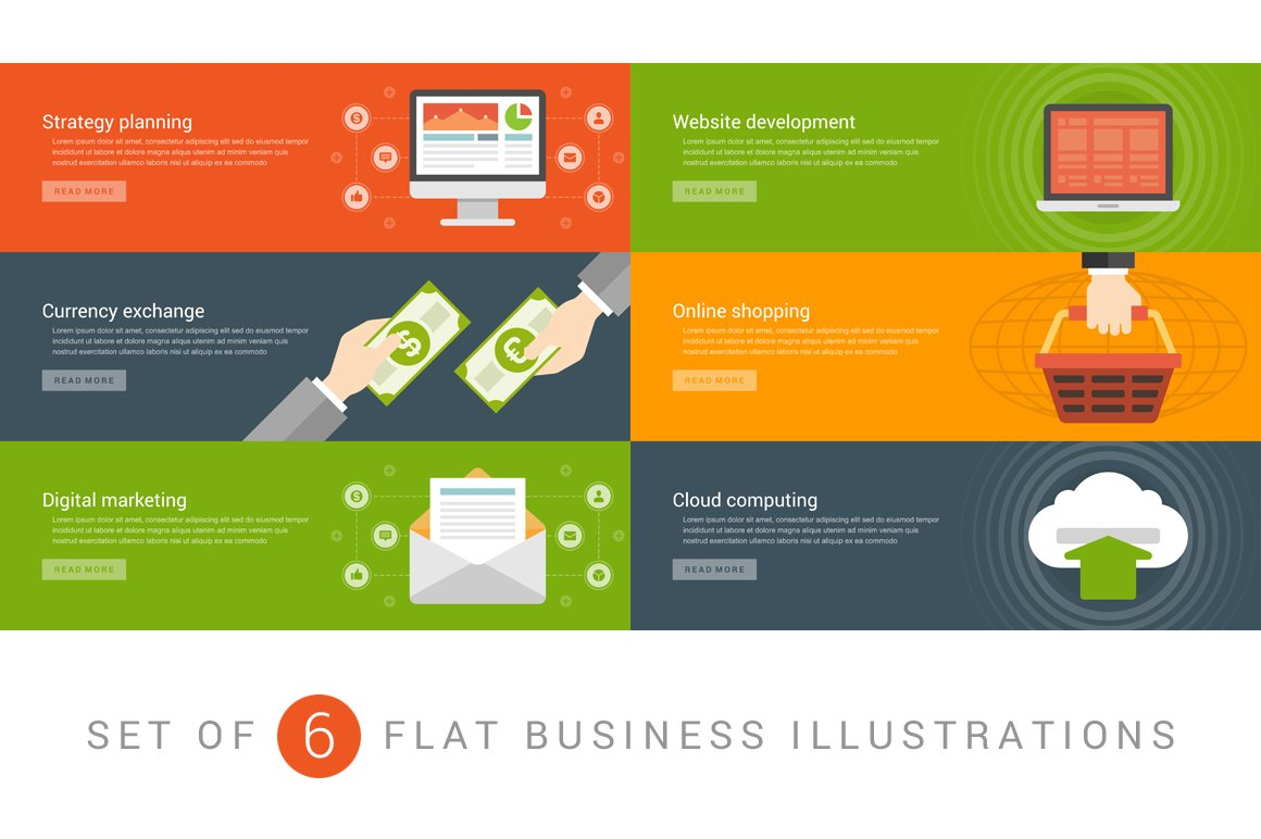 flat website banners template web elements creative market