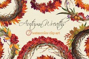 Autumn Wreaths watercolor clip art