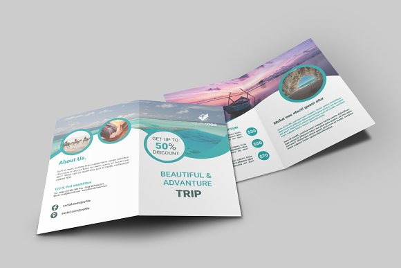 Travel Agency Bi Fold Brochure ~ Brochure Templates ~ Creative Market