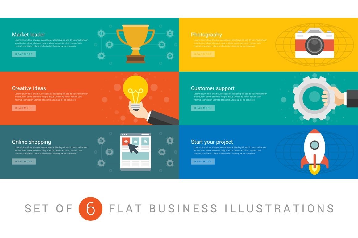 Flat Website Banners Template Web Elements Creative Market