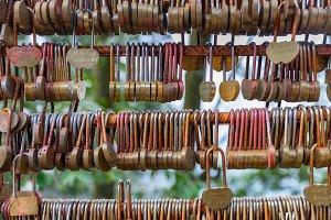 Love lockers on the bridge in China