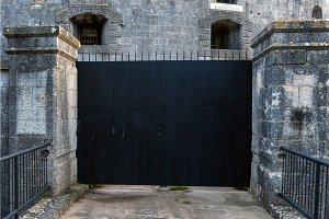 Old steel gate closeup photo