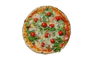 Delicious pizza on isolated white background closeup photo