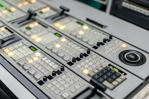 Studio control panel close up photo