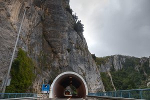 Entrance of an Artificial road tunnel as background