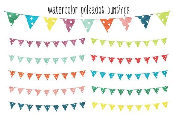 Watercolor Polkadot Buntings