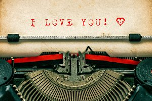I love You. Old Typewriter