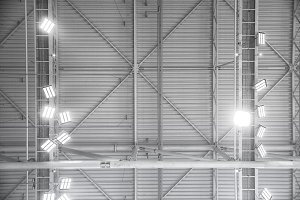 Metal roof interiors structure of building