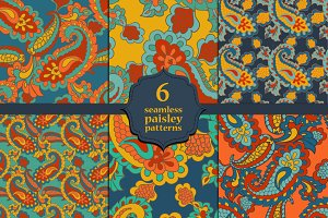 Six Seamless Paisley backgrounds