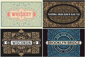 Pack of 4 Vintage labels 60% OFF