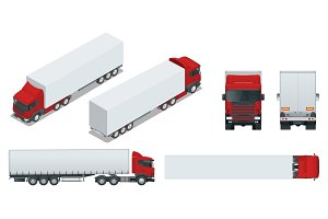 Truck trailer with container. Cargo delivering vehicle template vector isolated on white View front, rear, side, top and isometry front, back. Change the color in one click. All elements in groups