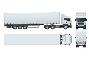 Truck trailer with container. Cargo delivering vehicle template vector isolated on white View front, rear, side, top. Change the color in one click. All elements in groups