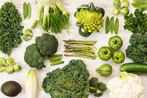 Top view green vegetables and fruits