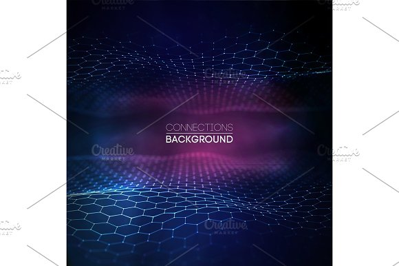 Network Connection Concept Blue Vector Illustration Futuristic Hexagon Perspective Wide Angle Lanscape Futuristic Honeycomb Concept 3D Landscape Big Data Digital Background