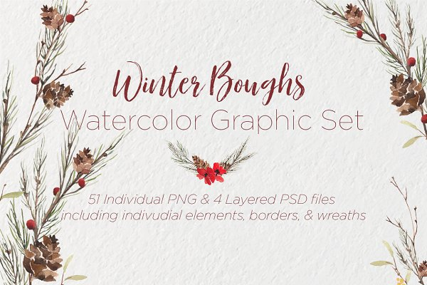 Winter Boughs Watercolor Graphics