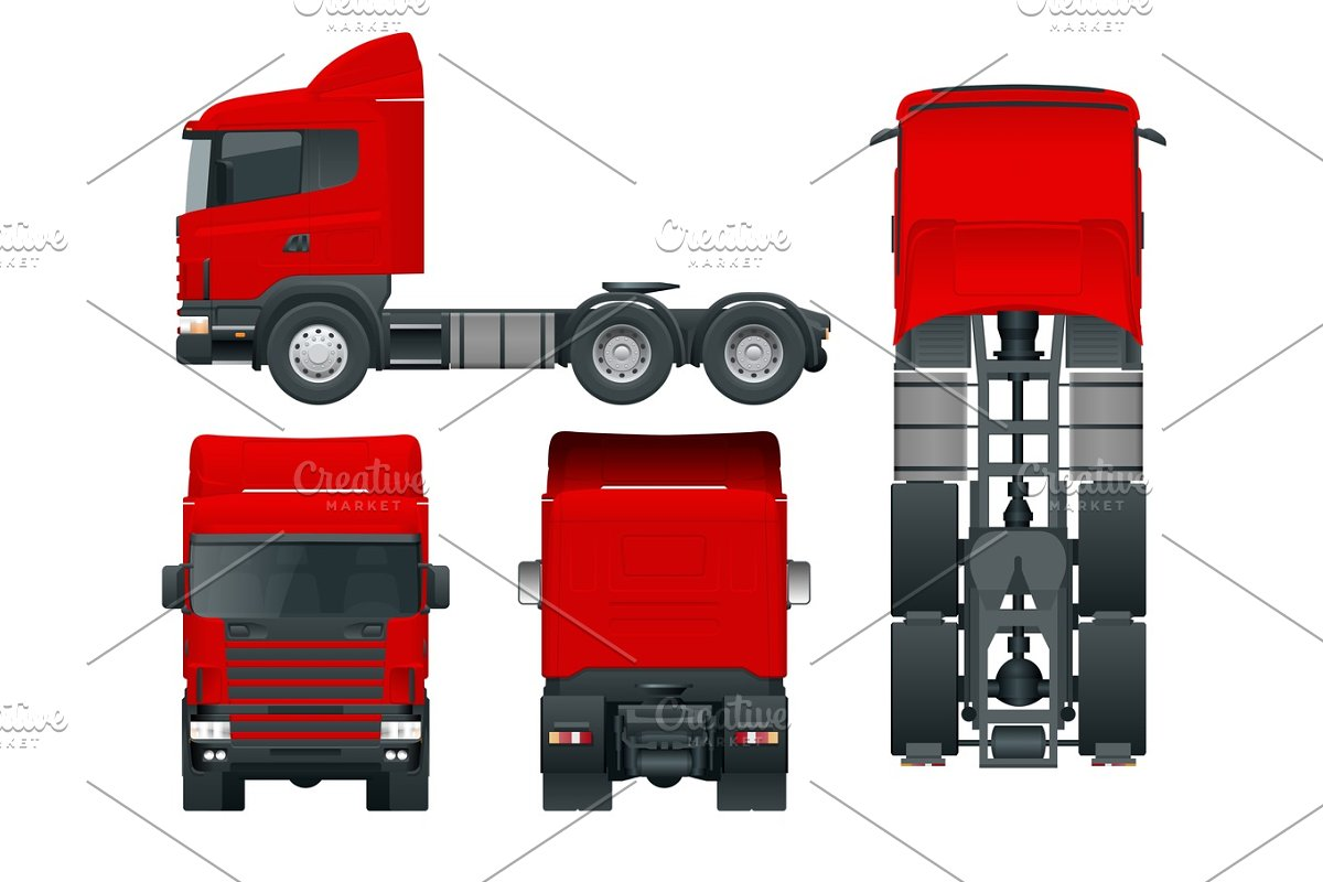 Save truck tractor or semi trailer truck cargo delivering vehicle template vector isolated illustration view