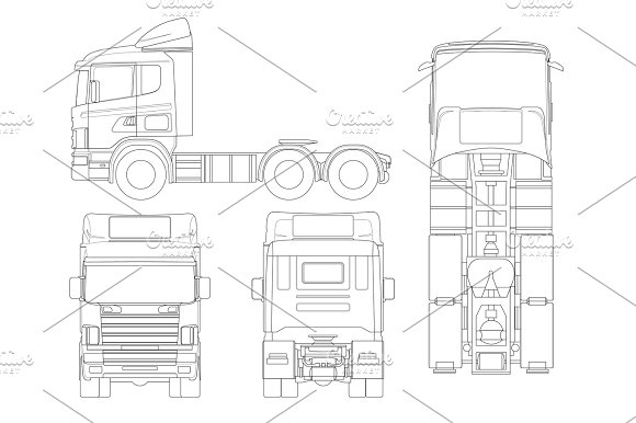 Truck Tractor Or Semi-trailer Truck In Outline Combination Of A Tractor Unit And One Or More Semi-trailers To Carry Freight