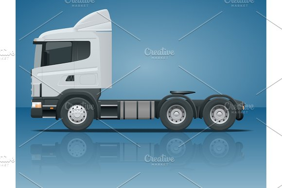 Truck Tractor Or Semi Trailer Truck Cargo Delivering Vehicle Template Vector Isolated Illustration View Side Change The Color In One Click All