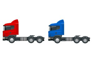 Truck tractor or semi-trailer truck. Cargo delivering vehicle template vector isolated on white View side. Change the color in one click. All elements in groups
