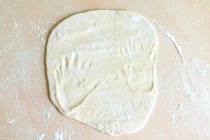 Dough with handprints