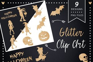 Gold Halloween Silhouette Clipart